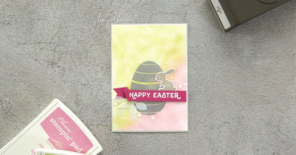 Osterkarte mit Stampin' Up! in den Farben Limette & Zarte Pflaume