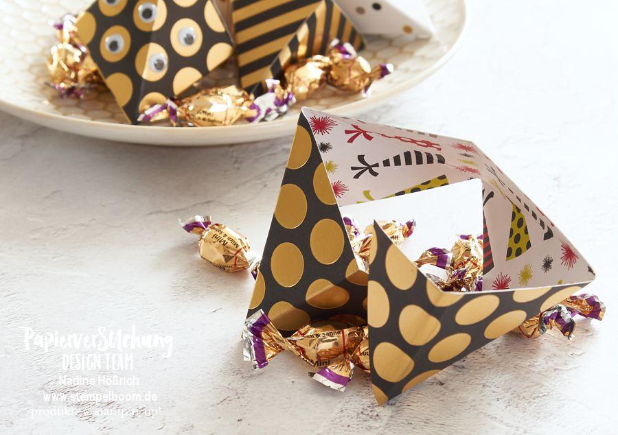 Origami Süßigkeiten-Verpackung Dreieckfaltbox - mit Anleitung!