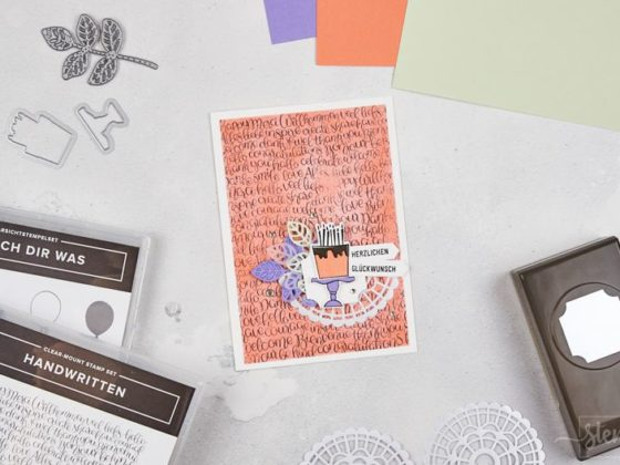 Geburtstagskarte mit Stampin' Up! | Grapefruit, Lindgrün, Heideblüte | Handwritten - Wünsch dir was