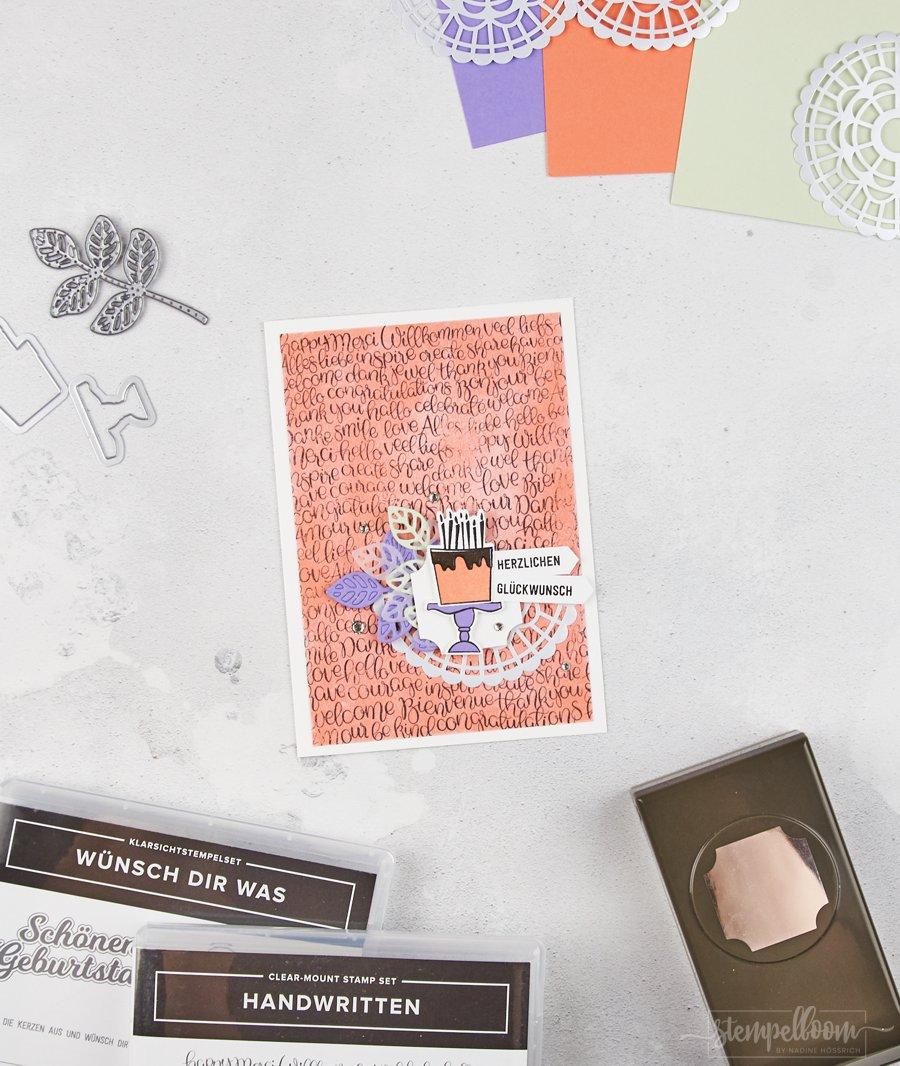 Geburtstagskarte mit stempelboom & Stampin' Up! in den Farben Grapefruit, Lindgrün & Heideblüte   Handwritten - Wünsch dir was