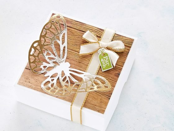 Geschenkschachtel mit Stampin' Up! #stampinup #gold #embossing #butterfly #schmetterling #box