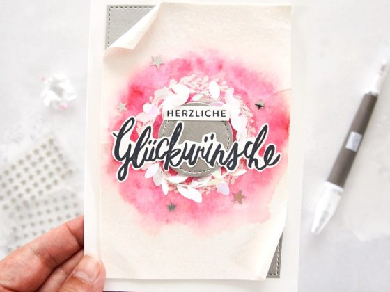 Grußkarte mit Watercolor-Effekt | Stampin' Up! & stempelboom