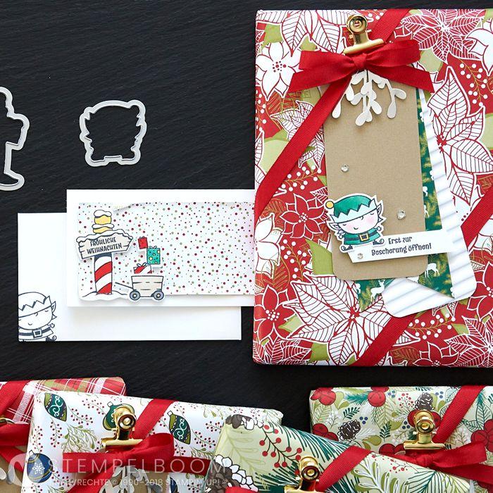 Set aus Geschenk und einem Kärtchen zu Weihnachten mit dem Produktpaket Weihnachtswerkstatt von Stampin' Up!