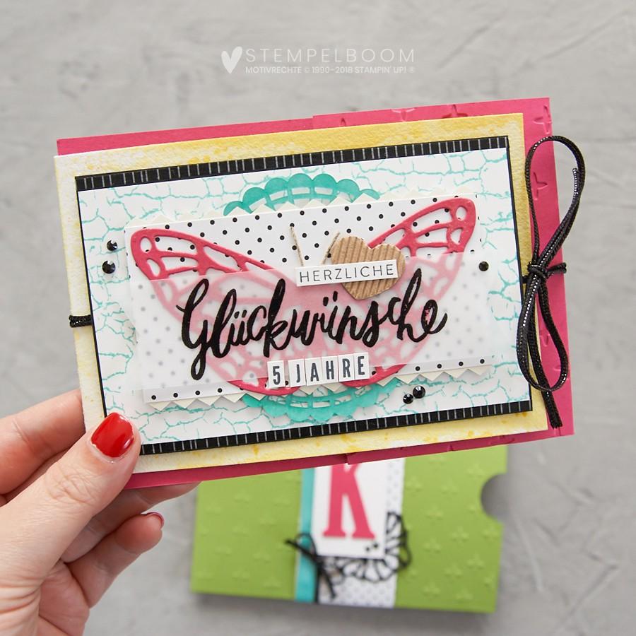 Glückwunschkarte zum 5jährigen Jubiläum | Schmetterling, Frühlingsimpressionen, Buchstaben, Liebevolle Worte, Kreative Vielfalt