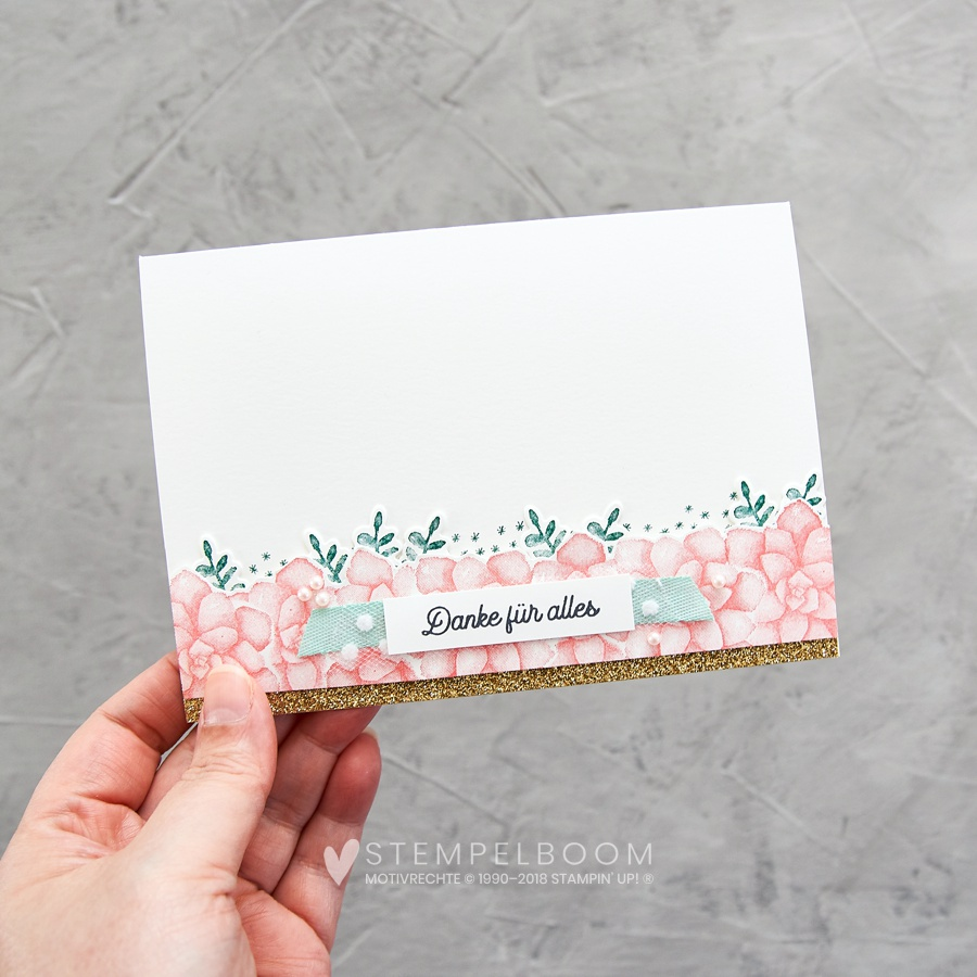 Colour Combo Blog Hop – Tannengrün, Aquamarin & Flamingorot | Karte mit Painted Seasons | Stampin' Up! | stempelboom